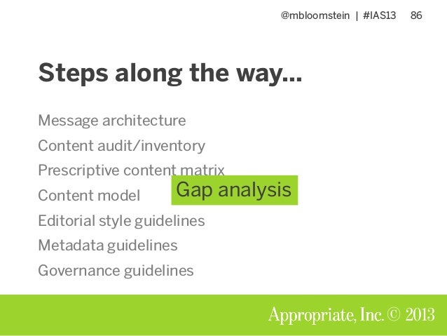 @mbloomstein | #IAS13 86 © 2013 Steps along the way… Message architecture Content audit/inventory Prescriptive content mat...