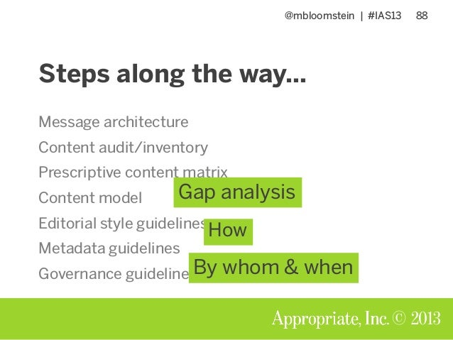 @mbloomstein | #IAS13 88 © 2013 Steps along the way… Message architecture Content audit/inventory Prescriptive content mat...