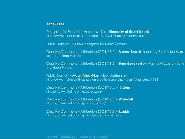 IA Summit – March 30, 2014 – @andrewjwright #uxdebt Attributions Designing for Emotion – Aarron Walter – Hierarchy of (Use...