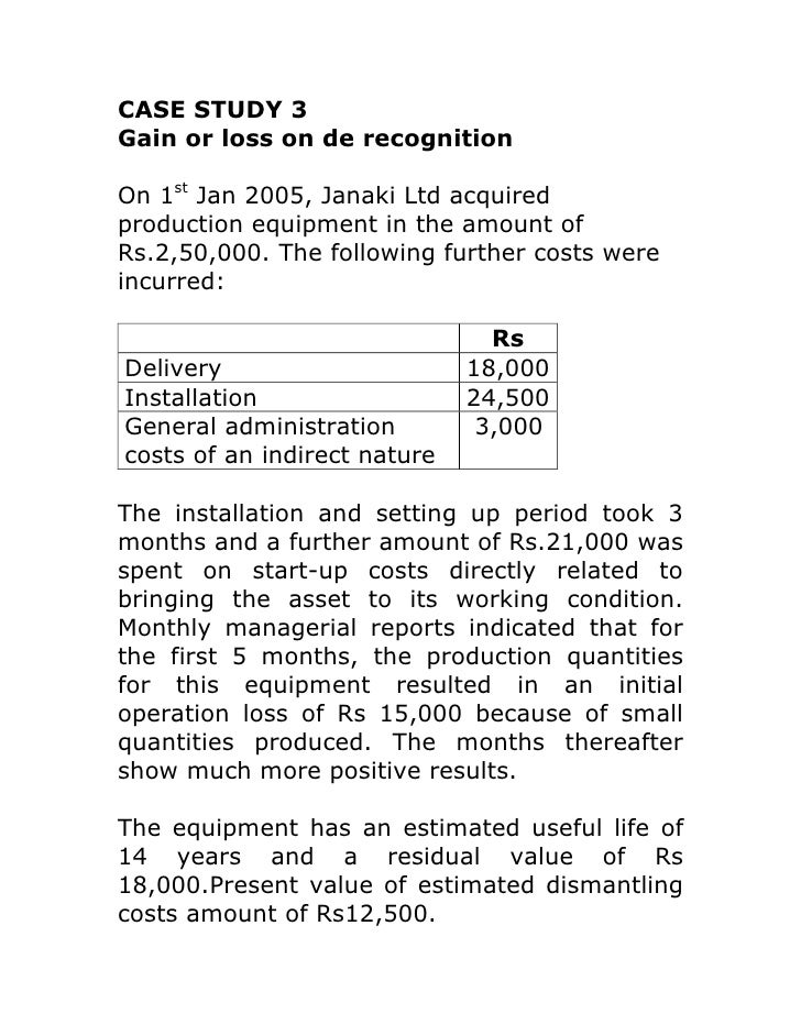 CASE STUDY 3Gain or loss on de recognitionOn 1st Jan 2005, Janaki Ltd acquiredproduction equipment in the amount ofRs.2,50...