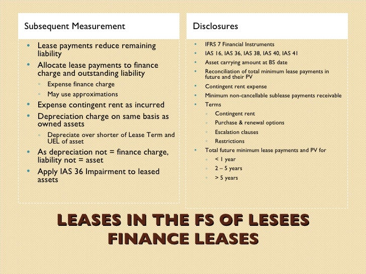 discussion of ias 17 leases Accounting for leases  • classification criteria would be similar to ias 17 -finance lease:  case study 1 assessment (cont.