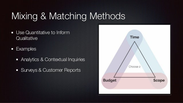 Mixing & Matching Methods Map method to the goals Card Sorting for IA, not workflow Analytics for usage, not motivations