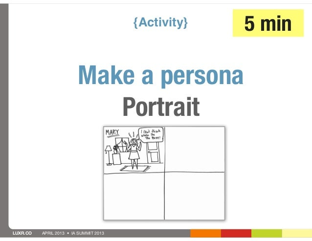 {Activity}   5 min                         Make a persona                            PortraitLUXR.CO   APRIL 2013 • IA SUM...