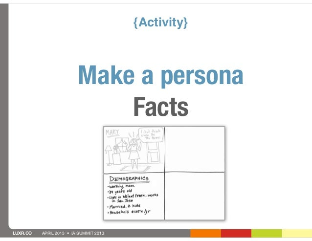{Activity}                         Make a persona                             FactsLUXR.CO   APRIL 2013 • IA SUMMIT 2013