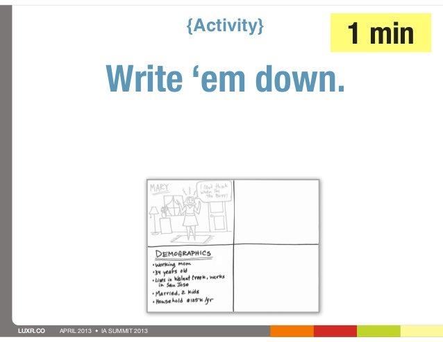 {Activity}                                                     1 min                        Write 'em down.LUXR.CO   APRIL...