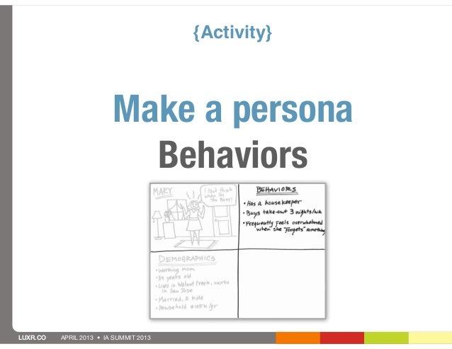{Activity}                         Make a persona                           BehaviorsLUXR.CO   APRIL 2013 • IA SUMMIT 2013