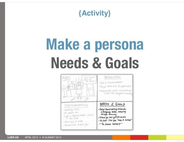 {Activity}                         Make a persona                         Needs & GoalsLUXR.CO   APRIL 2013 • IA SUMMIT 2013