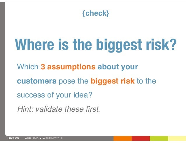 {check}    Where is the biggest risk?     Which 3 assumptions about your     customers pose the biggest risk to the     su...
