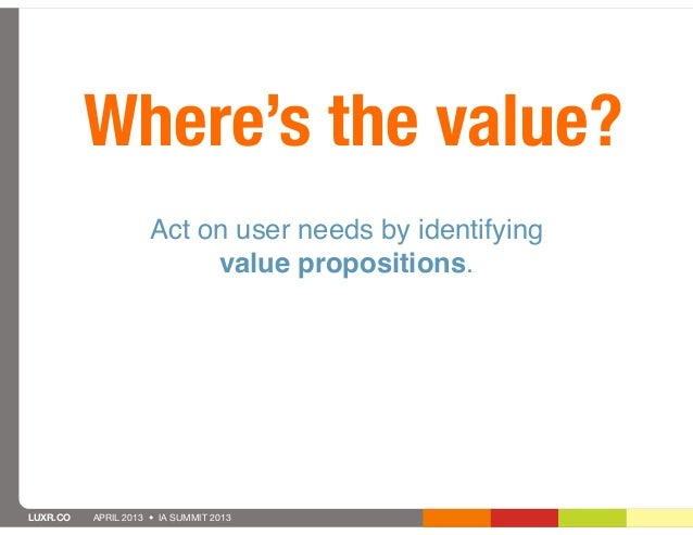 Where's the value?                     Act on user needs by identifying                          value propositions.LUXR.C...