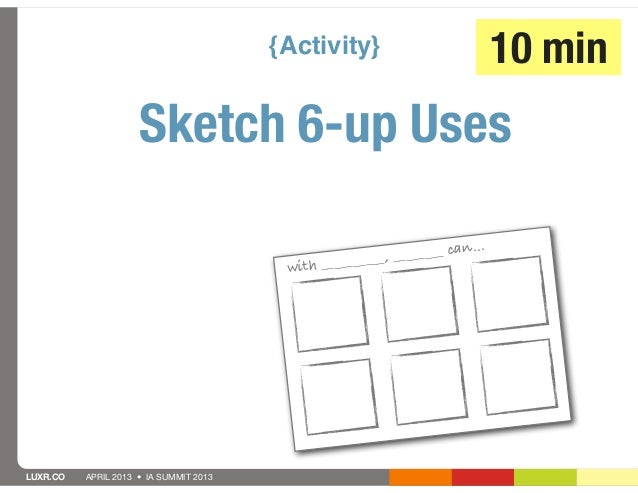 {Activity}                            10 min                     Sketch 6-up Uses                                         ...