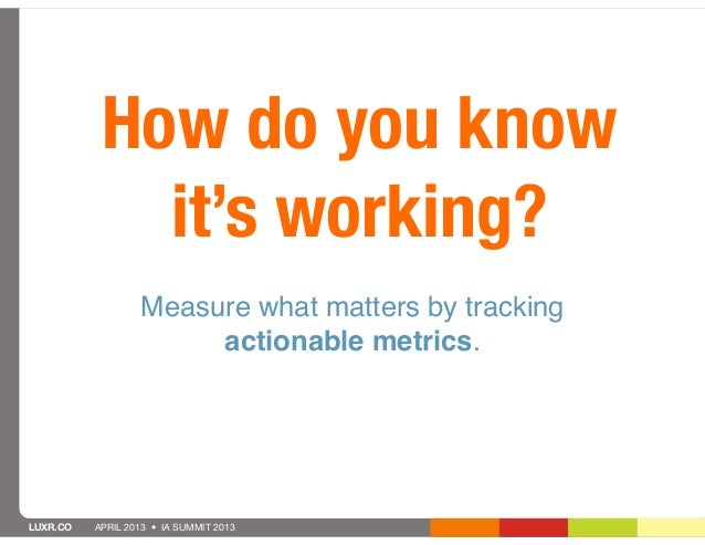 How do you know             it's working?                  Measure what matters by tracking                       actionab...
