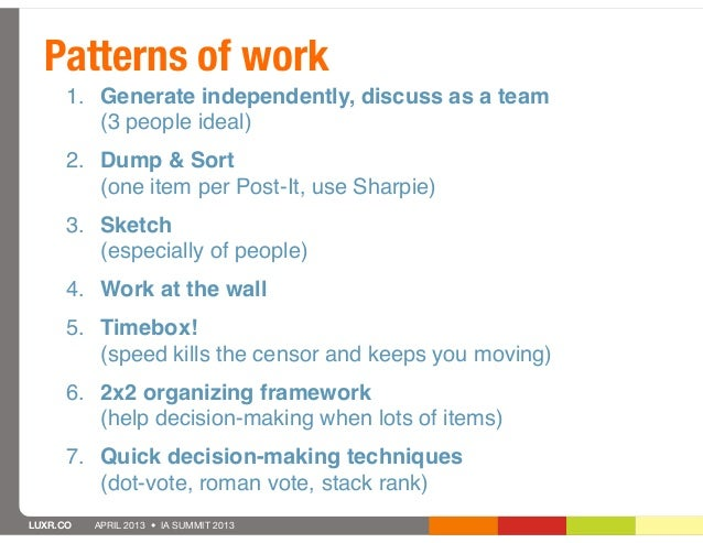 Patterns of work      1. Generate independently, discuss as a team         (3 people ideal)      2. Dump & Sort         (o...