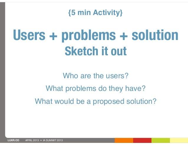 {5 min Activity}   Users + problems + solution                                        Sketch it out                       ...