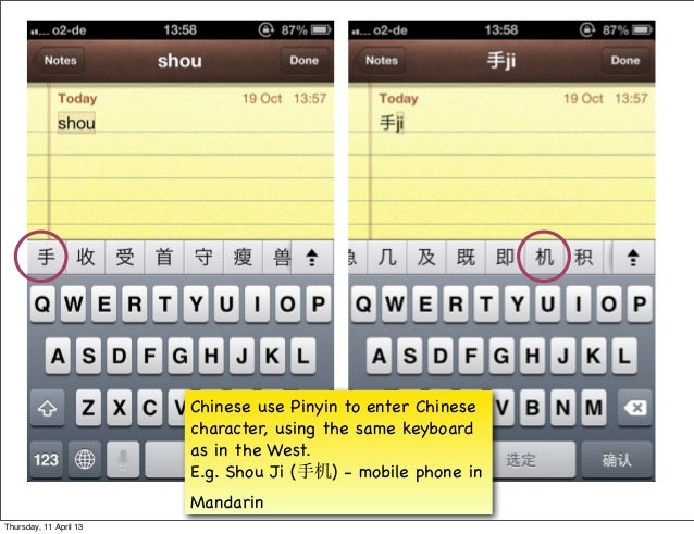 Chinese use Pinyin to enter Chinese                        character, using the same keyboard                        as in...
