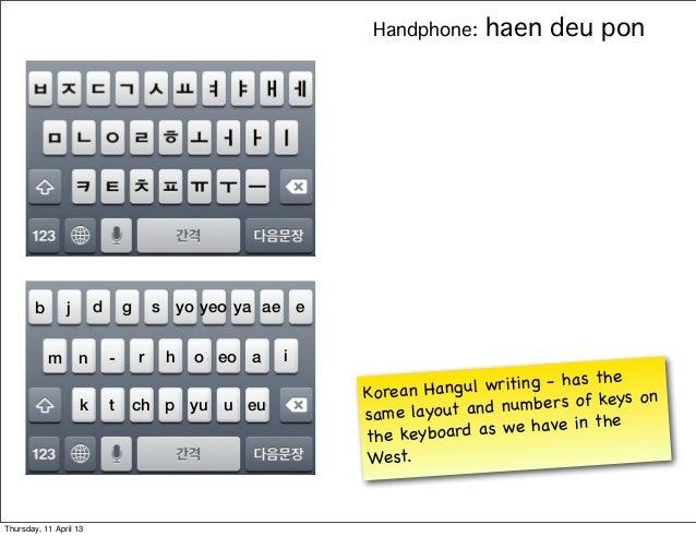 Handphone:    haen deu pon        b       j       d       g       s yo yeo ya ae e            m       n       -       r   ...