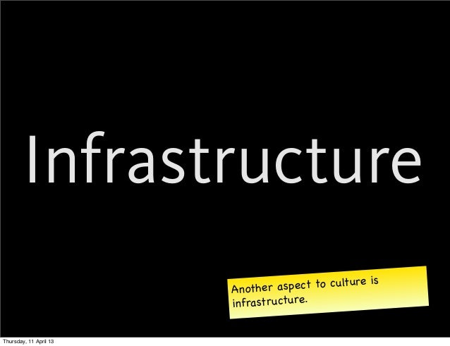 Infrastructure                        Another as pect to culture is                        infrastructure.Thursday, 11 Apr...