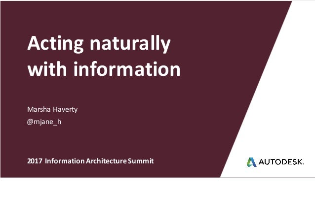 Marsha	Haverty Acting	naturally with	information @mjane_h 2017	Information	Architecture	Summit
