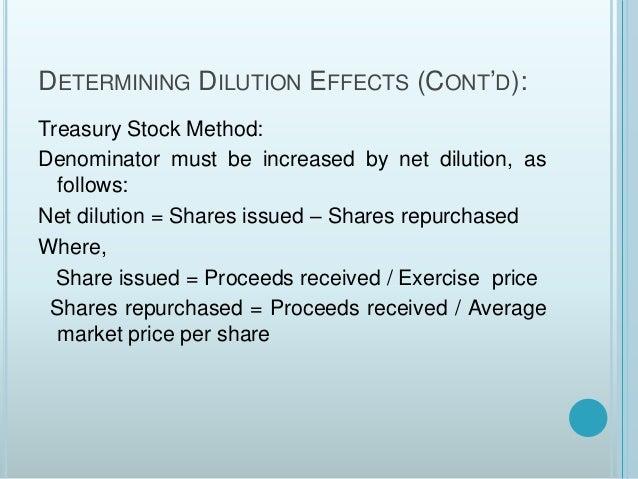 Employee stock options dilutive effect