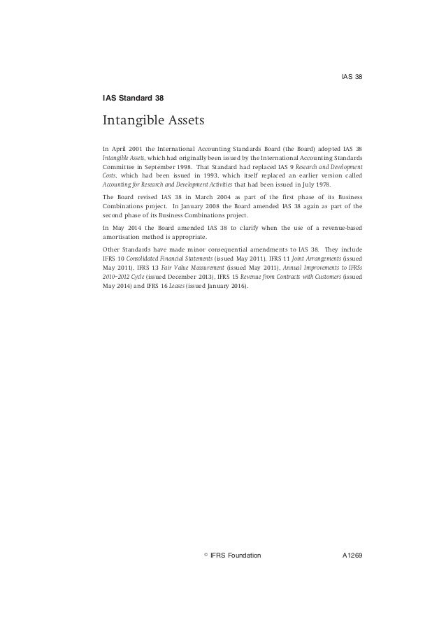 ias standard 38 intangible assets in april 2001 the international accounting standards board the board