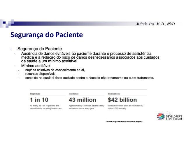 Márcia Ito, M.D., PhD Segurança do Paciente • Segurança do Paciente • Ausência de danos evitáveis ao paciente durante o pr...