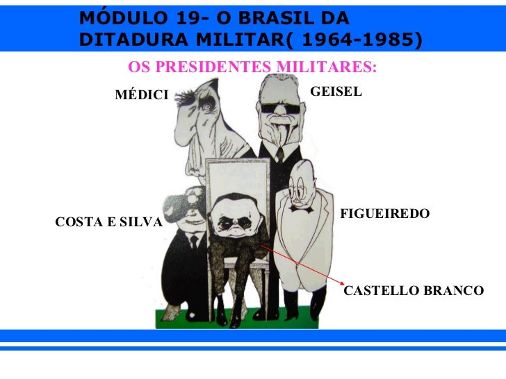 MÓDULO 19- O BRASIL DA  DITADURA MILITAR( 1964-1985)        OS PRESIDENTES MILITARES:       MÉDICI             GEISEL     ...