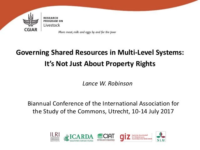 Governing Shared Resources in Multi-Level Systems: It's Not Just About Property Rights Lance W. Robinson Biannual Conferen...
