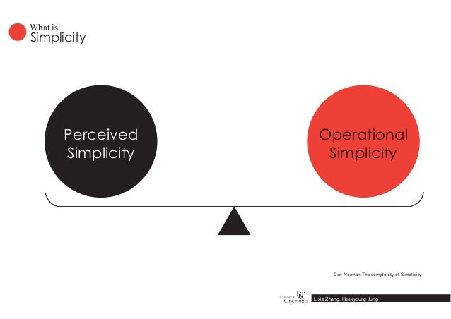 Perceived Simplicity Operational Simplicity Simplicity What is Lixia Zhang, Heekyoung Jung Don Norman The complexity of Si...