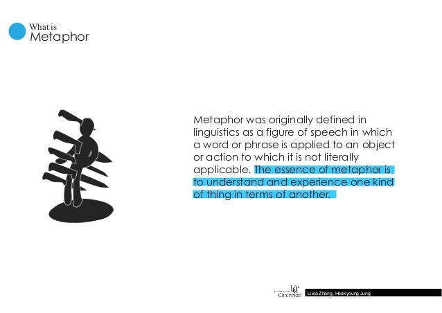 Metaphor was originally defined in linguistics as a figure of speech in which a word or phrase is applied to an object or ...