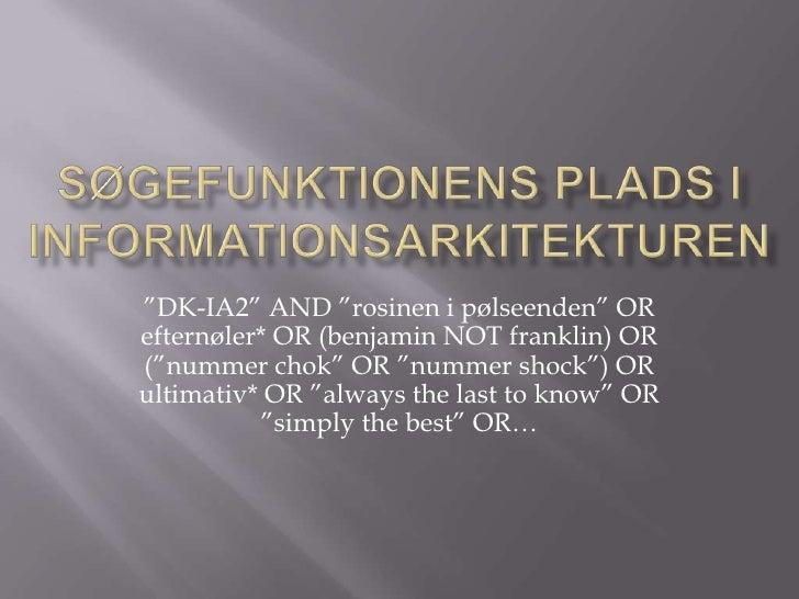 """Søgefunktionens plads i informationsarkitekturen <br />""""DK-IA2"""" AND """"rosinen i pølseenden"""" OR efternøler* OR (benjamin NOT..."""