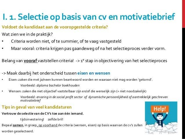 eisen motivatiebrief Selectie, beoordeling en keuze van de beste kandidaat eisen motivatiebrief