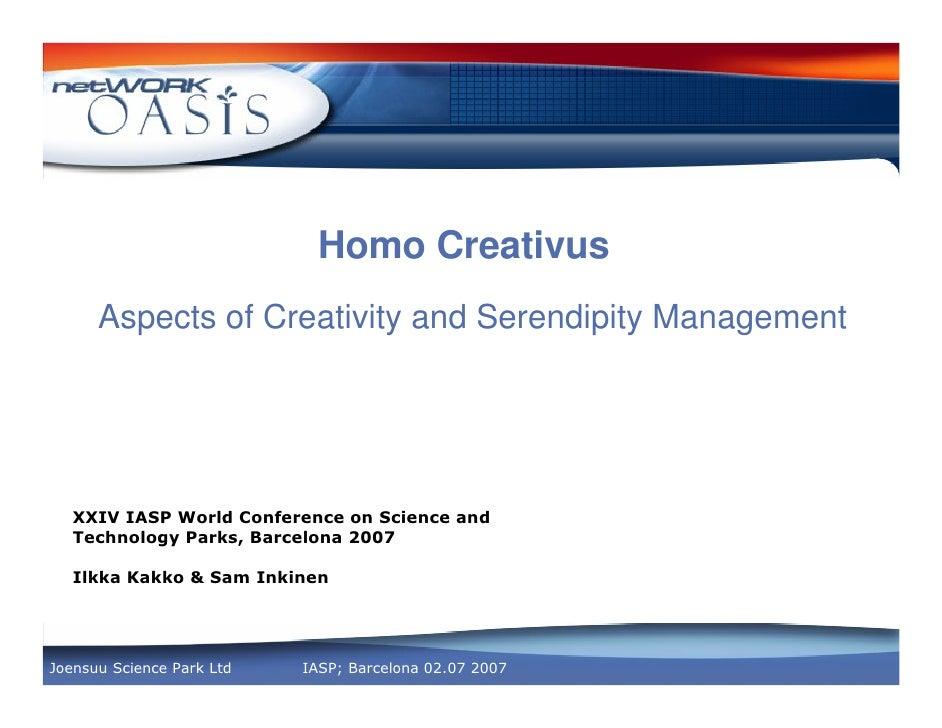 Homo CreativusAspects of Creativity and Serendipity Management        !