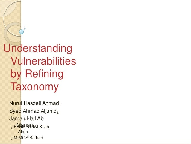 Understanding Vulnerabilities by Refining Taxonomy Nurul Haszeli Ahmad₁ Syed Ahmad Aljunid₁ Jamalul-lail Ab     Manan₂  ₁ ...