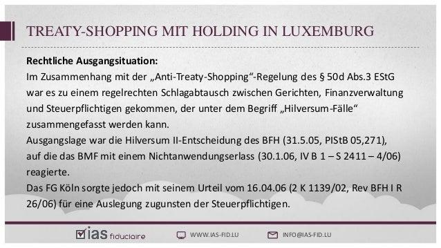 Steuerliche Substanzerfordernisse - Treaty Shopping Luxemburg Slide 3