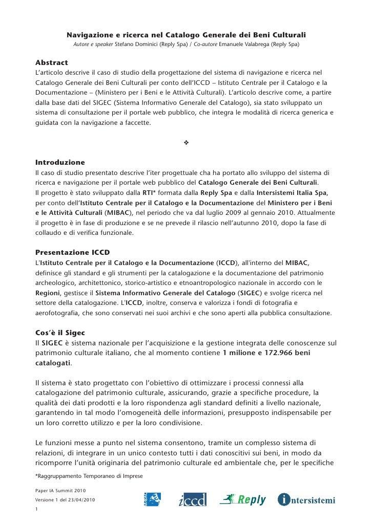 Navigazione e ricerca nel Catalogo Generale dei Beni Culturali                Autore e speaker Stefano Dominici (Reply Spa...
