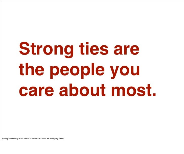 Strong ties are the people you care about most. Your best friends. Your family.