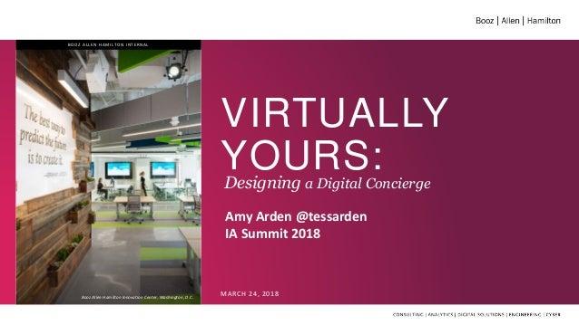 VIRTUALLY YOURS:Designing a Digital Concierge MARCH 24, 2018Booz Allen Hamilton Innovation Center, Washington, D.C. BOOZ A...