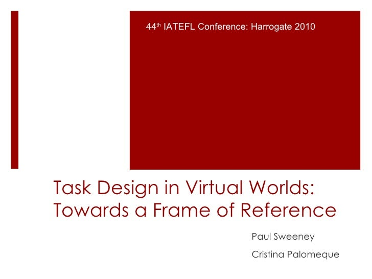 Task Design in Virtual Worlds: Towards a Frame of Reference Paul Sweeney Cristina Palomeque 44 th  IATEFL Conference: Harr...
