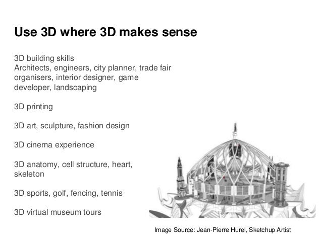 Use 3D where 3D makes sense 3D building skills Architects, engineers, city planner, trade fair organisers, interior design...