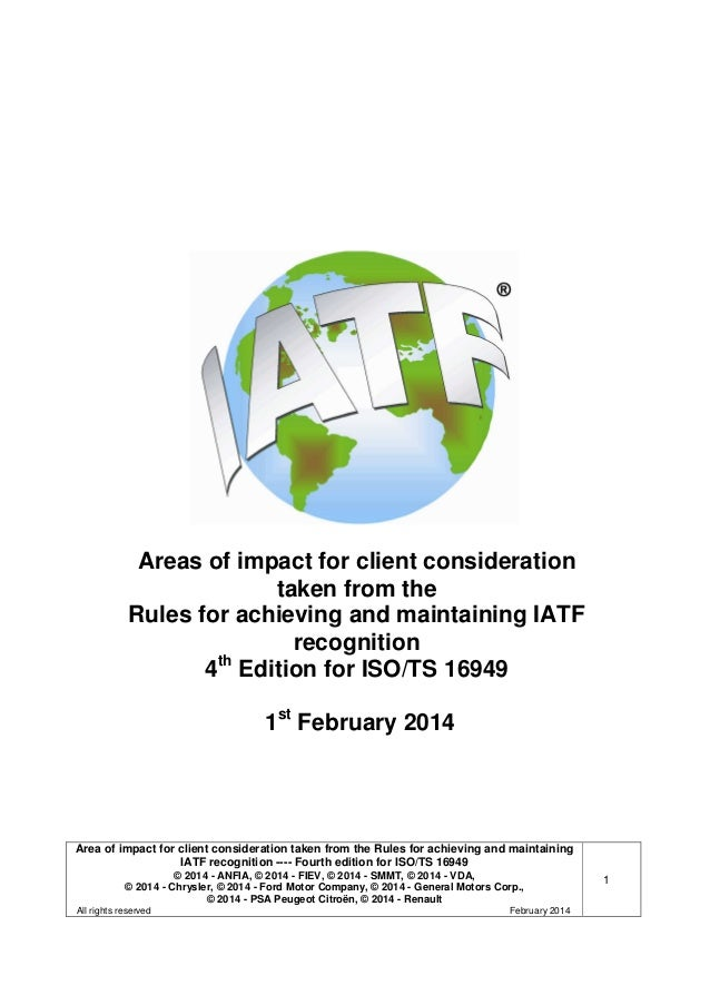 Iatf Rules 4th Clients Requirements 2014 01 28 Final