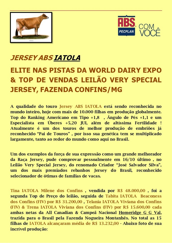 JERSEY ABS IATOLAELITE NAS PISTAS DA WORLD DAIRY EXPO& TOP DE VENDAS LEILÃO VERY SPECIALJERSEY, FAZENDA CONFINS/MGA qualid...