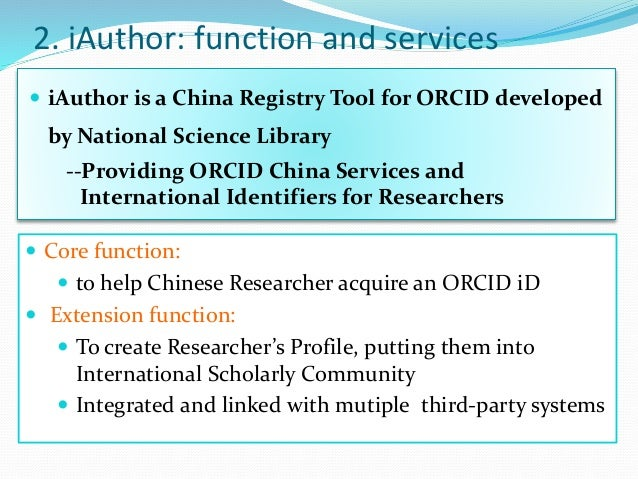 iAuthor cn: ORCID China Services and International
