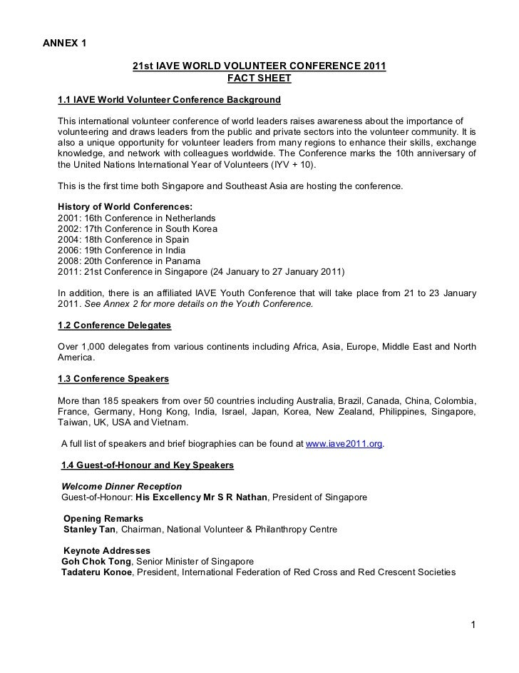 ANNEX 1                    21st IAVE WORLD VOLUNTEER CONFERENCE 2011                                     FACT SHEET  1.1 I...
