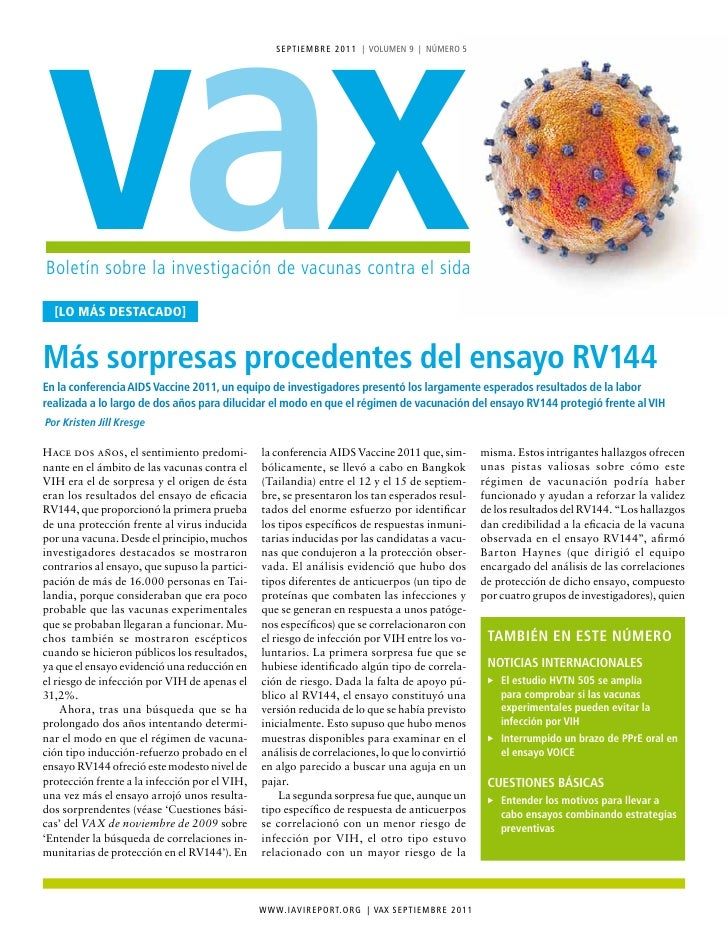 vax                                                   S e p tI e M B r e 2 0 1 1 | VoLUMen 9 | núMero 5Boletín sobre la in...