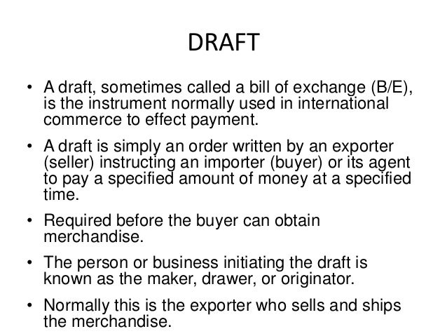 export documentsletter of creditbill of exchangebill of lad – Bill of Exchange Sample