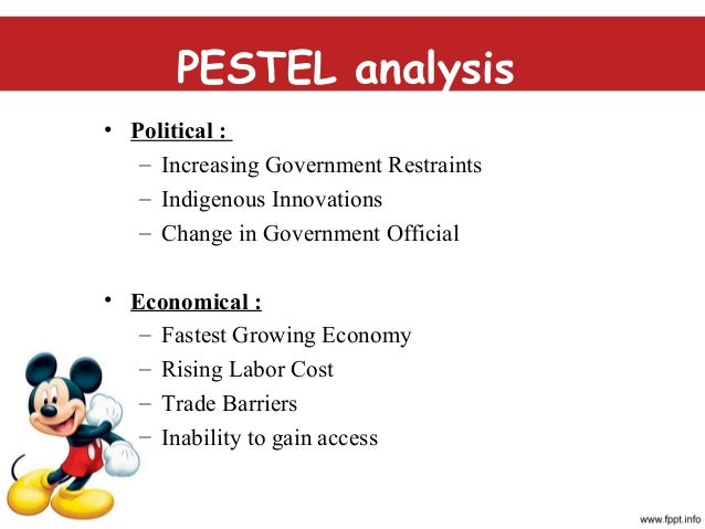 walt disney pestel analysis Subject: walt disney: swot, pestel and porter analysis introduction 2 pestel analysis 2 political factors 2 economic factors 3 social factors 3 technological.