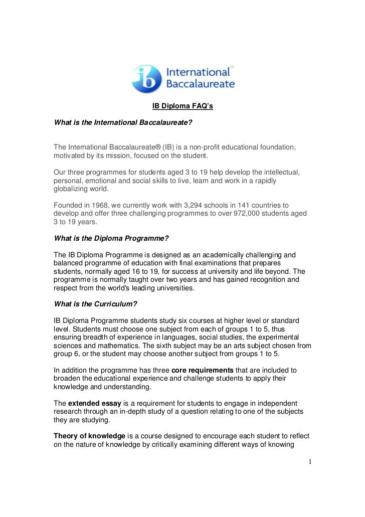 IB Diploma FAQ'sWhat is the International Baccalaureate?The International Baccalaureate® (IB) is a non-profit educational ...
