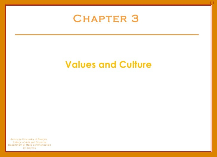 Chapter 3 Values and Culture American University of Sharjah  College of Arts and Sciences Department of Mass Communication...