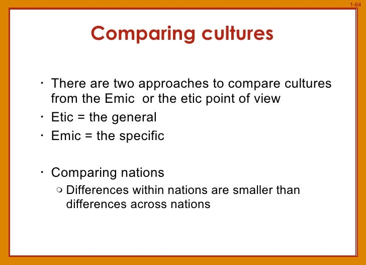 comparing cultures Sure it is you can compare cultures on any measure you can quantify you can  display the results of your comparison as descriptive or, if you like, as normative.