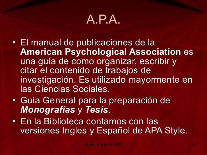 Manual de estilo APA Slide 2