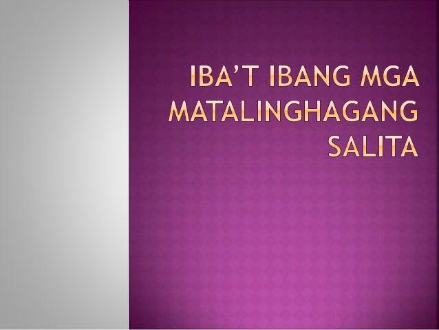 Ito ay bukang Bibig na hango sa karanasan ng tao at nagsisilbing patnubay sa dapat gawin sa buhay. (Nacin et.al ). Sa anyo...